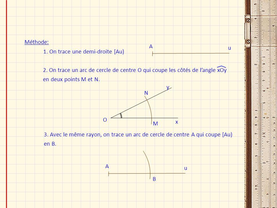 Méthode: u. A. 1. On trace une demi-droite [Au) 2. On trace un arc de cercle de centre O qui coupe les côtés de l'angle xOy en deux points M et N.
